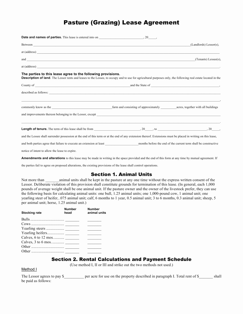 Pasture Lease Agreement Template Luxury Pasture Lease Agreement