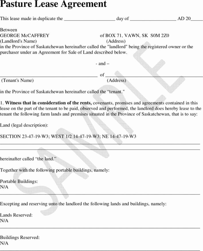 Pasture Lease Agreement Template New Download Saskatchewan Pasture Lease Agreement Sample for