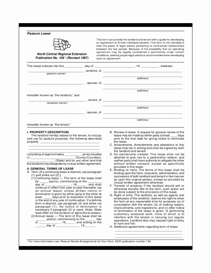 Pasture Lease Agreement Template New Pasture Lease Agreement Template Free Download