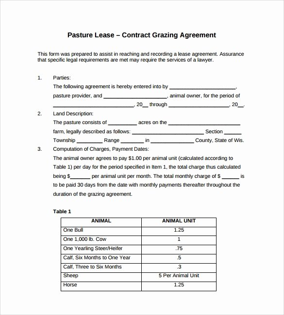 Pasture Lease Agreement Template New Sample Pasture Lease Agreement Templates 8 Free