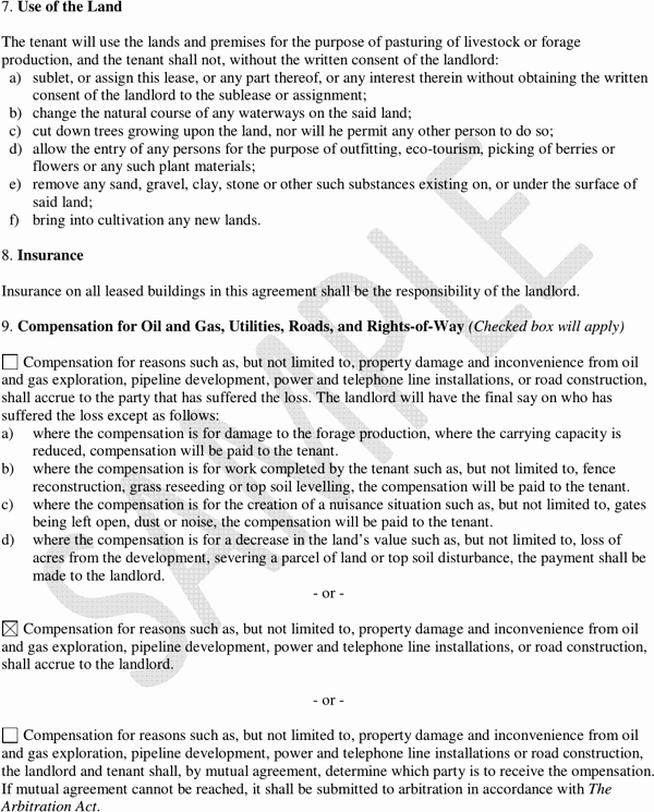 Pasture Lease Agreement Template Unique Download Saskatchewan Pasture Lease Agreement Sample for