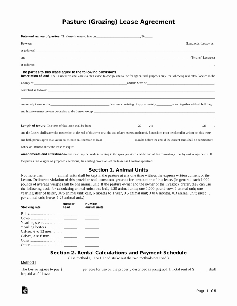 Pasture Lease Agreement Template Unique Free Pasture Grazing Rental Lease Agreement Template