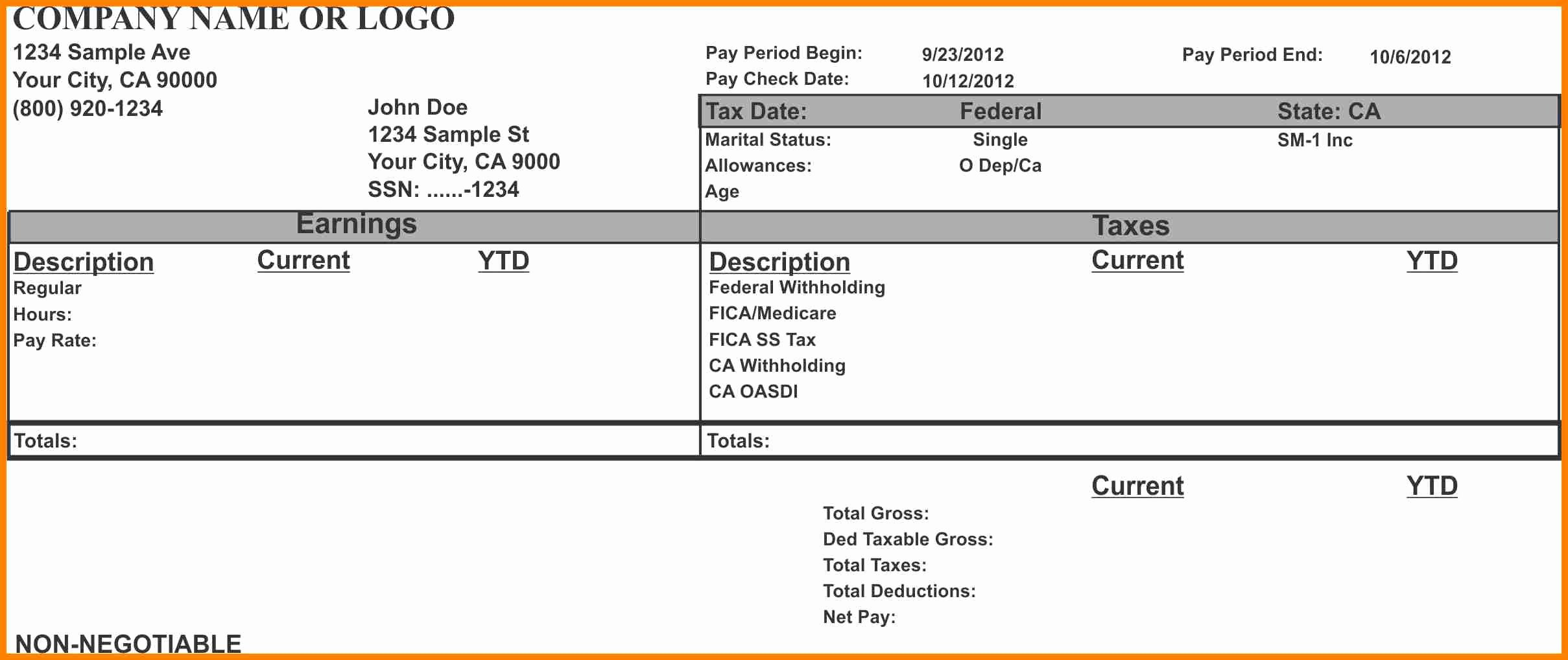 Pay Stub Template Pdf Fresh 14 Fillable Pay Stub Free Pdf