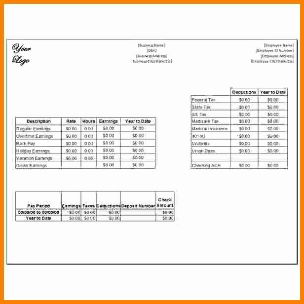 Pay Stub Template Pdf Fresh 7 Canadian Pay Stub Template Excel