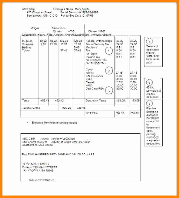 Pay Stub Template Pdf Unique 5 Pay Stub Template Pdf Free