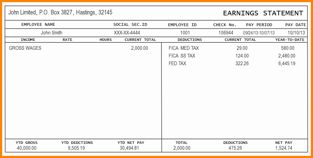 Pay Stub Template Word Document Unique 5 Pay Stub Template Word