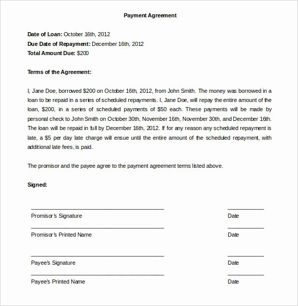 Payment Agreement Contract Template Elegant Payment Agreement Template Template
