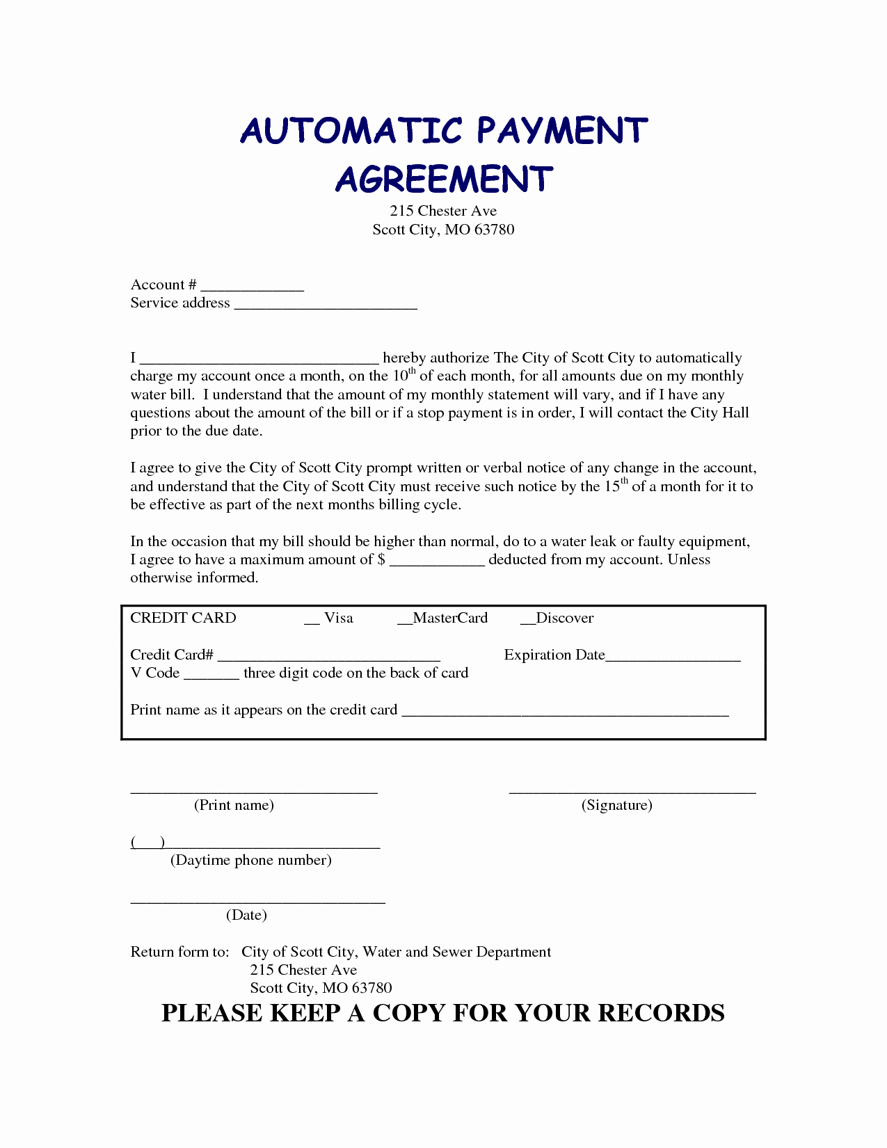 Payment Agreement Contract Template Fresh Payment Contract Template