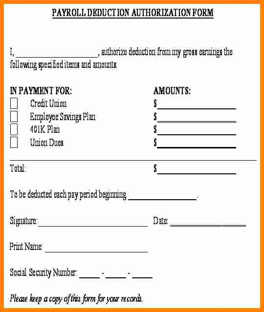 Payroll Deduction form Template Elegant 5 Payroll Deduction Authorization form Template