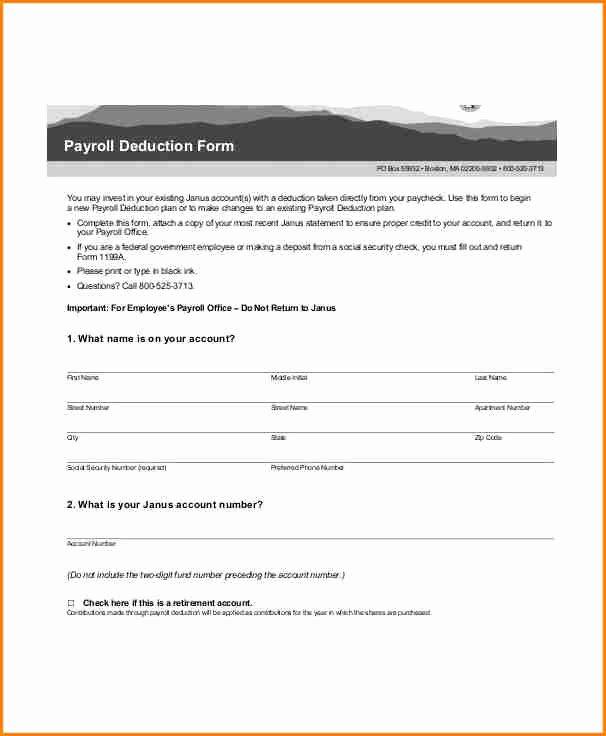 Payroll Deduction form Template Elegant 7 Sample Payroll Deduction form