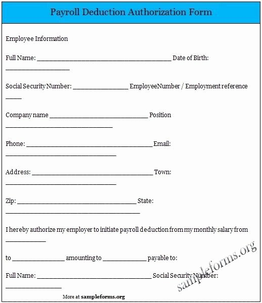 Payroll Deduction form Template Elegant Payroll Deduction Authorization form Payroll Sample