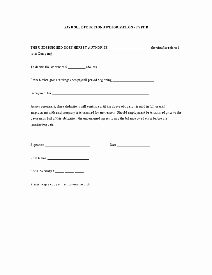 Payroll Deduction form Template Fresh Payroll Deduction Authorization Work