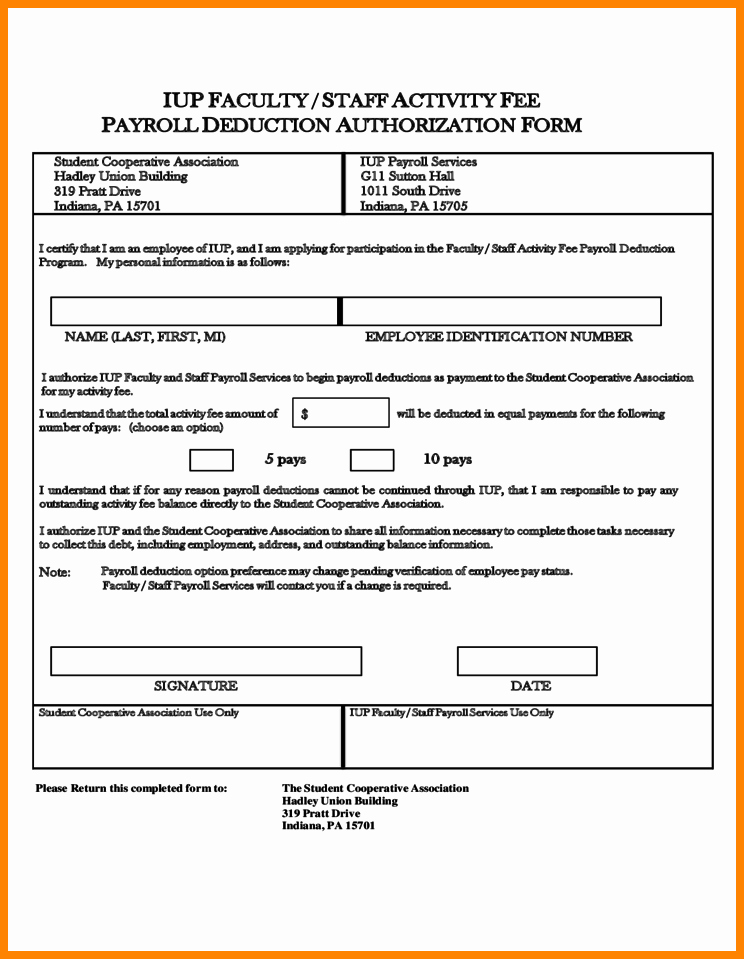 Payroll Deduction form Template Inspirational 9 Payroll Deduction Authorization form
