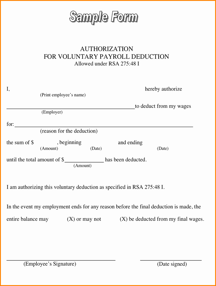 Payroll Deduction form Template Luxury 11 Payroll Deduction Agreement Template