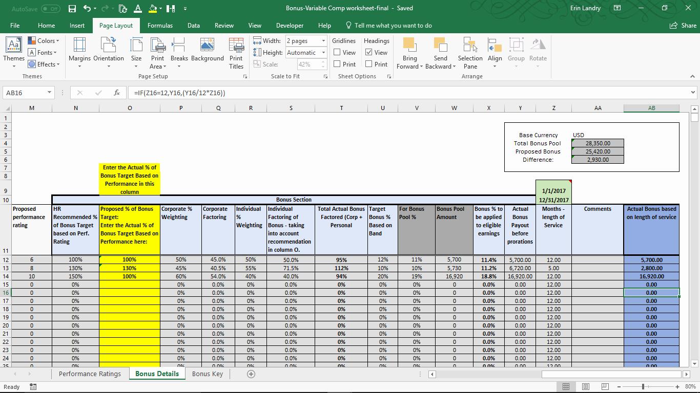 Performance Based Bonus Plan Template Elegant Variable Pensation Plan Template