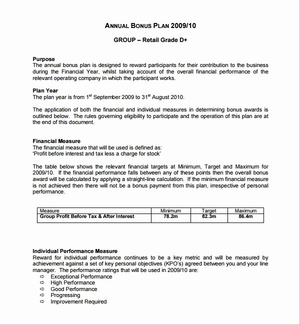 Performance Based Bonus Plan Template Luxury Sample Bonus Plan Template 7 Free Documents In Pdf