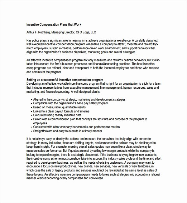 Performance Based Bonus Plan Template Unique Sample Pensation Plan Template 12 Free Documents In