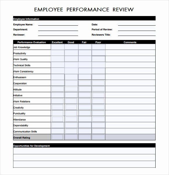 Performance Evaluation Template Word Fresh Free 7 Performance Evaluation In Samples Templates Examples