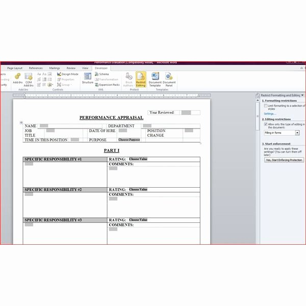 Performance Evaluation Template Word Fresh Free Downloadable Performance Appraisal form