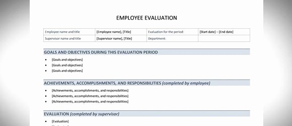 Performance Evaluation Template Word Inspirational Best Free Employee Evaluation Templates and tools