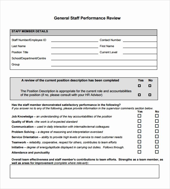 Performance Evaluation Template Word Lovely Performance Review Template 7 Download Documents In Pdf