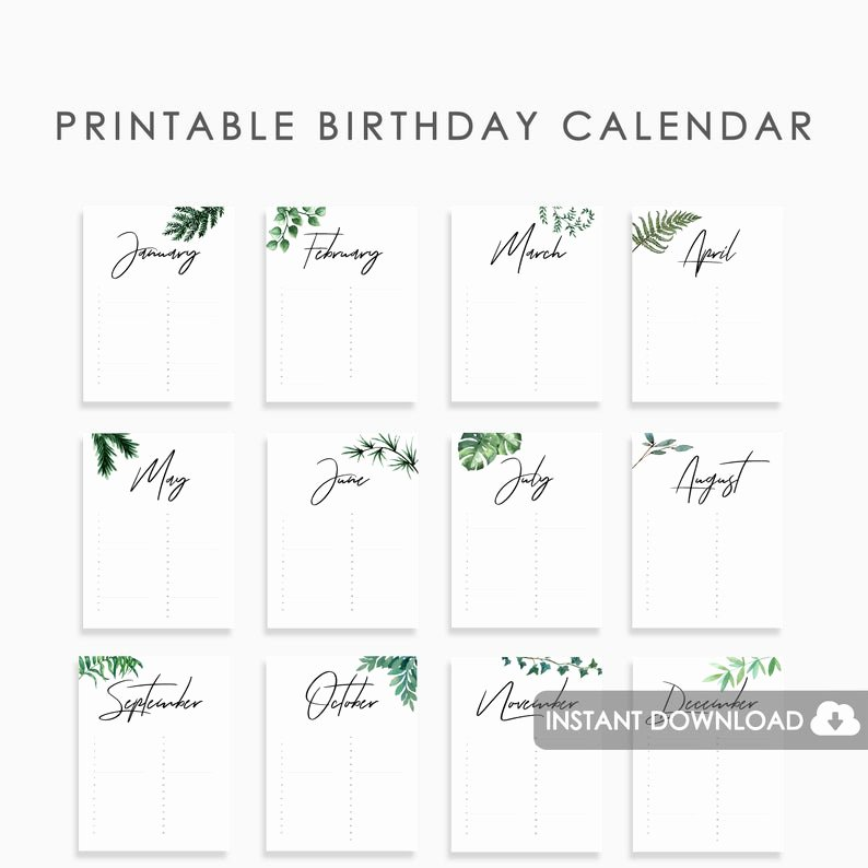 Perpetual Birthday Calendar Template Awesome Perpetual Birthday Calendar Printable Wedding Guest Book