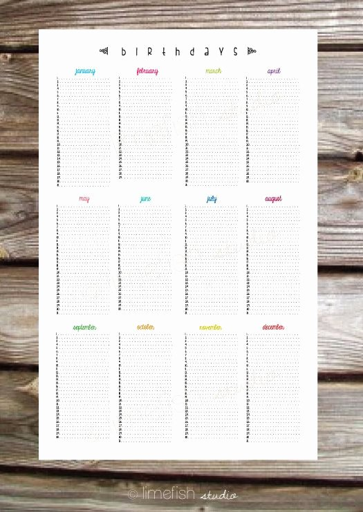 Perpetual Birthday Calendar Template Unique Printable 11x17 Birthday Calendar Poster by Limefishshop