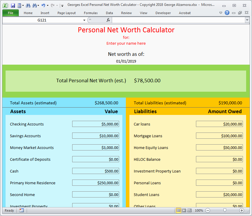 Personal Balance Sheet Template Excel Best Of Personal Net Worth Calculator Excel Spreadsheet