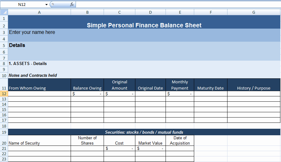 Personal Balance Sheet Template Excel Inspirational Simple Personal Finance Balance Sheet Template