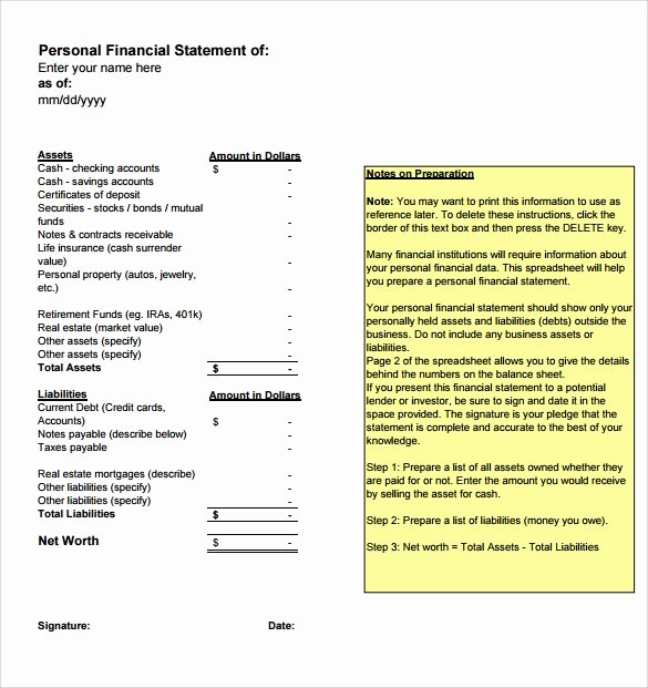 Personal Financial Statement Template Free Beautiful Free 15 Sample Personal Financial Statement Templates In