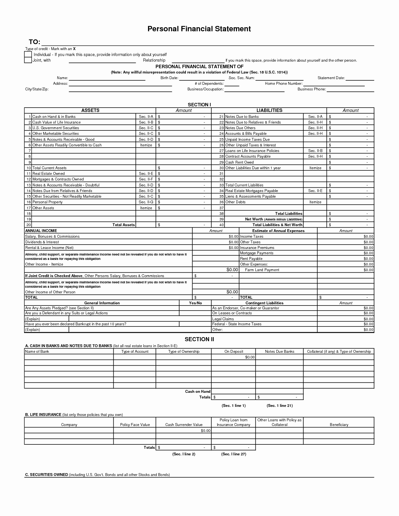 Personal Financial Statement Template Free Elegant Free Template Personal Financial Statement Many Benefits