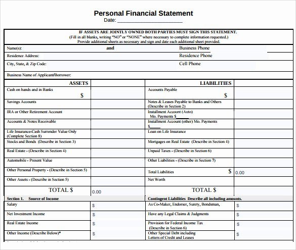 Personal Financial Statement Template Free Fresh Personal Financial Statement 11 Documents In Pdf Word
