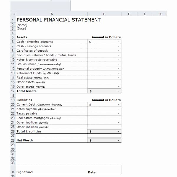 Personal Financial Statement Template Free Lovely E Stop Guide to Financial forecasting Including Free