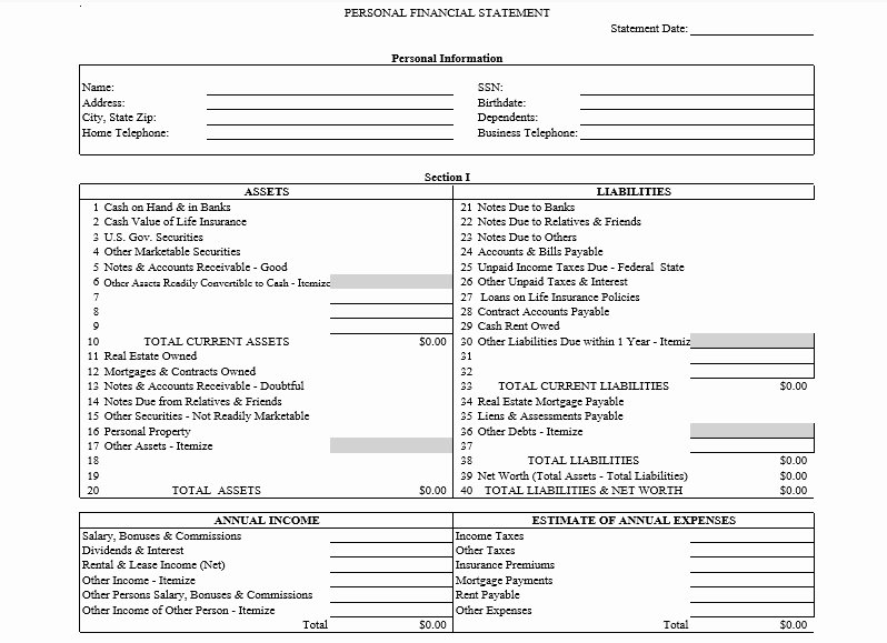 Personal Financial Statement Template Free Lovely Professional Personal Financial Statement Template Free
