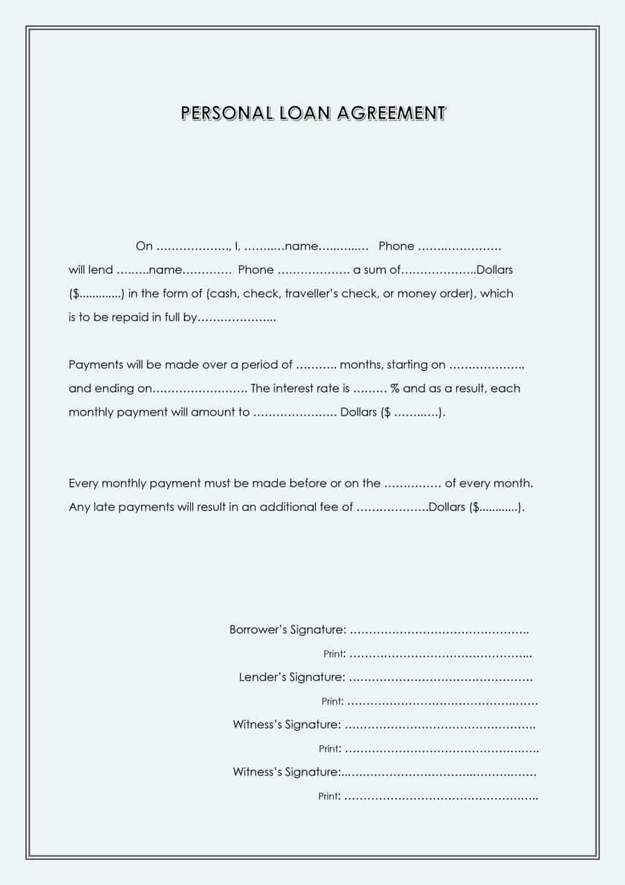 Personal Loan Agreement Template Word Beautiful 40 Free Loan Agreement Templates [word & Pdf] Template Lab