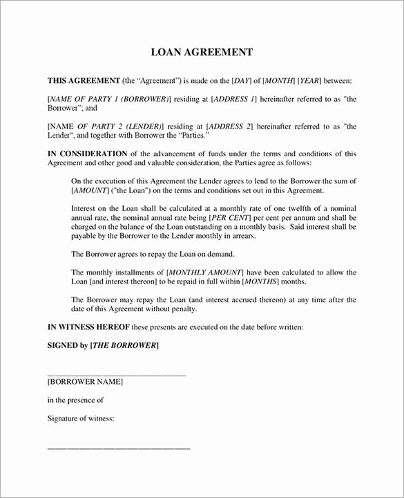 Personal Loan Agreement Template Word Best Of Loan Contract Template – 20 Free Word Pdf Documents