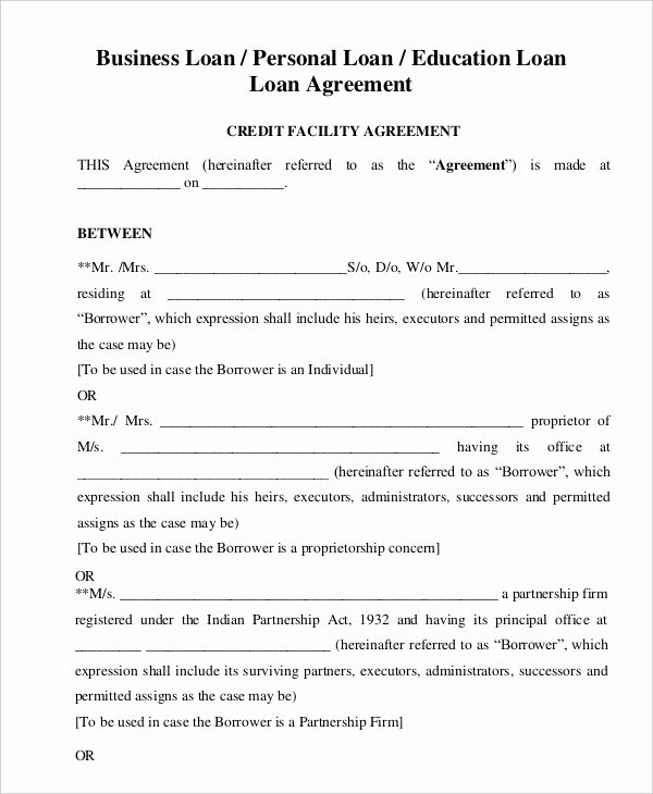 Personal Loan Agreement Template Word Inspirational Personal Loan Agreement Template
