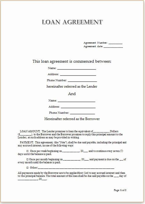 Personal Loan Agreement Template Word Lovely Loan Agreement format for Money Lending Vatansun