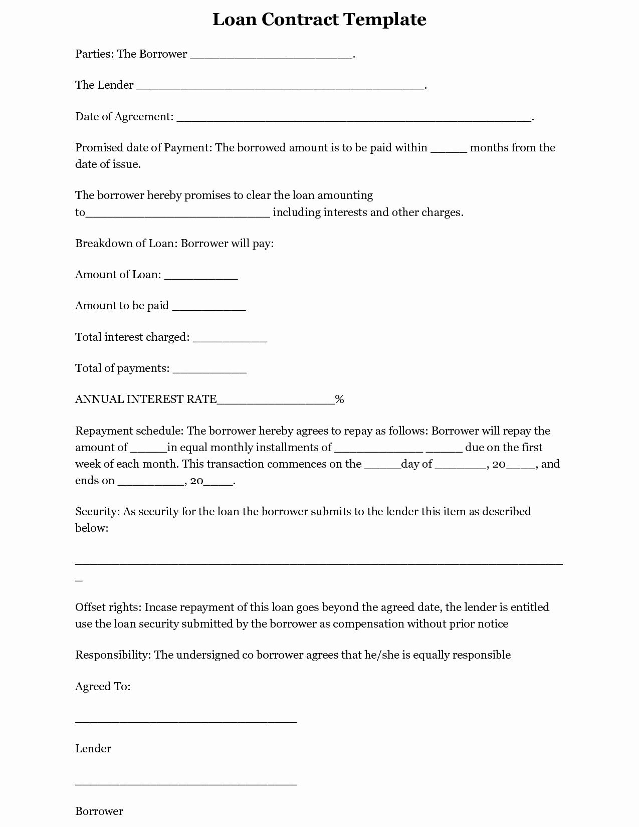 Personal Loan Agreement Template Word Luxury Simple Loan Agreement