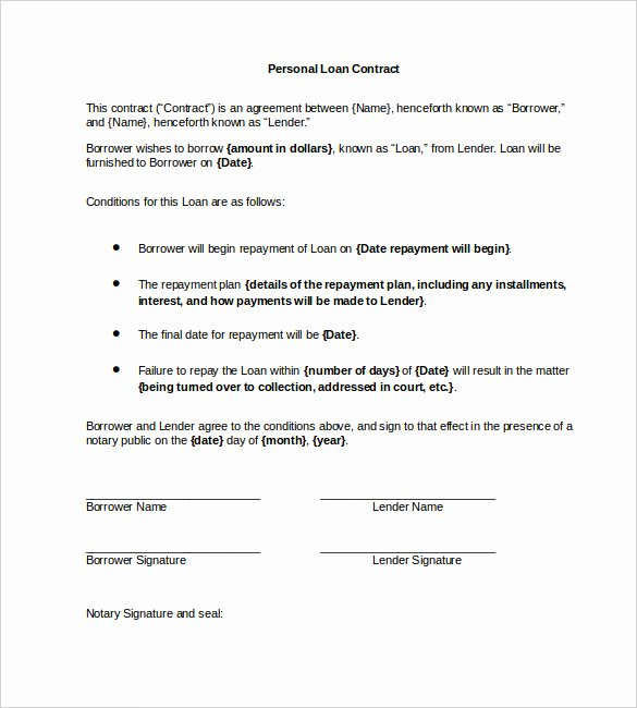 Personal Loan Agreement Template Word New 23 Simple Contract Template and Easy Tips for Your