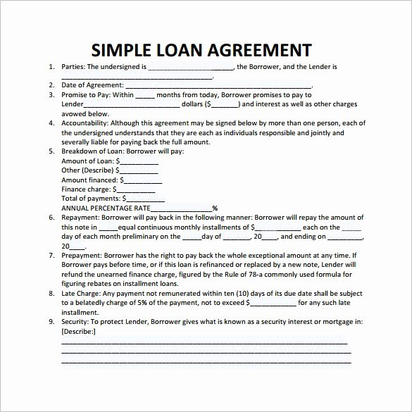 Personal Loan Agreement Template Word New Simple Loan Agreement