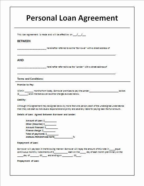 Personal Loan Agreement Template Word Unique Document Templates Loan Agreement Template In Word