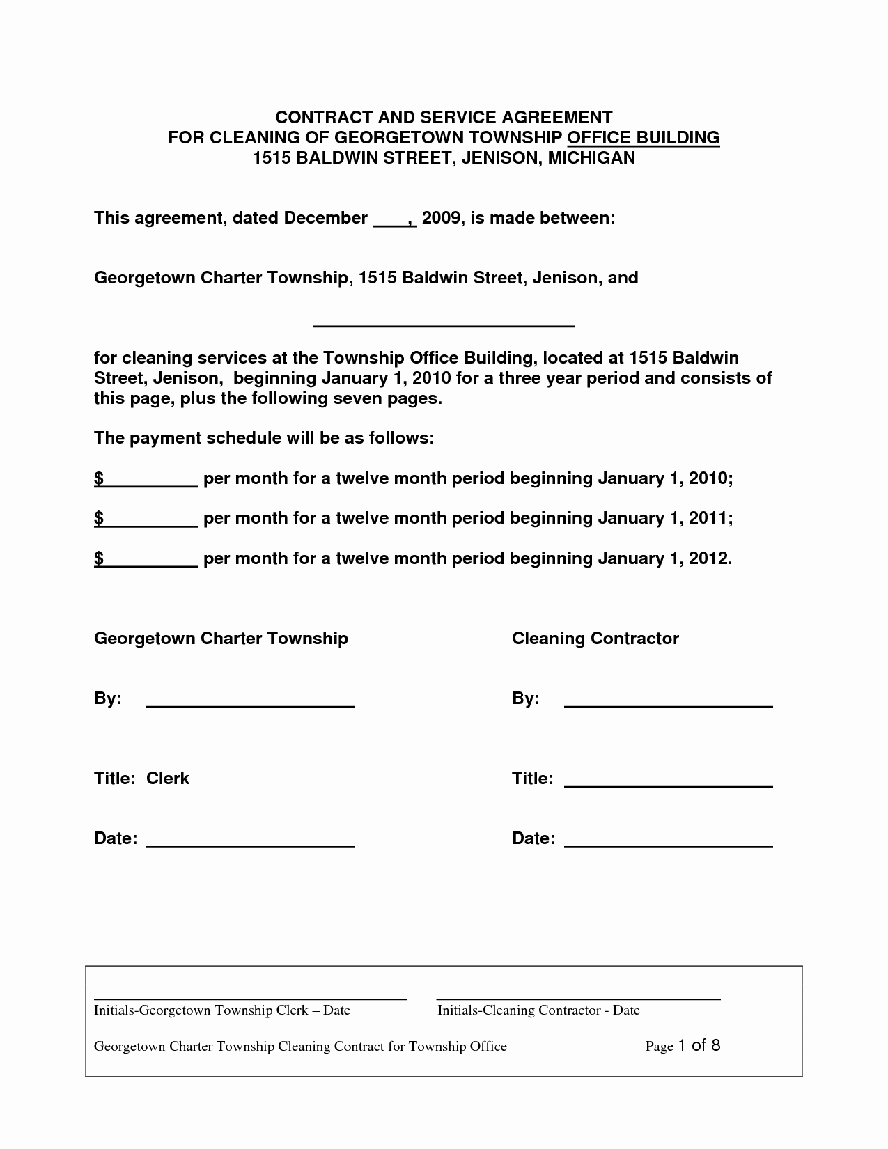 Personal Service Contract Template Awesome Cleaning Contract Agreement Free Printable Documents