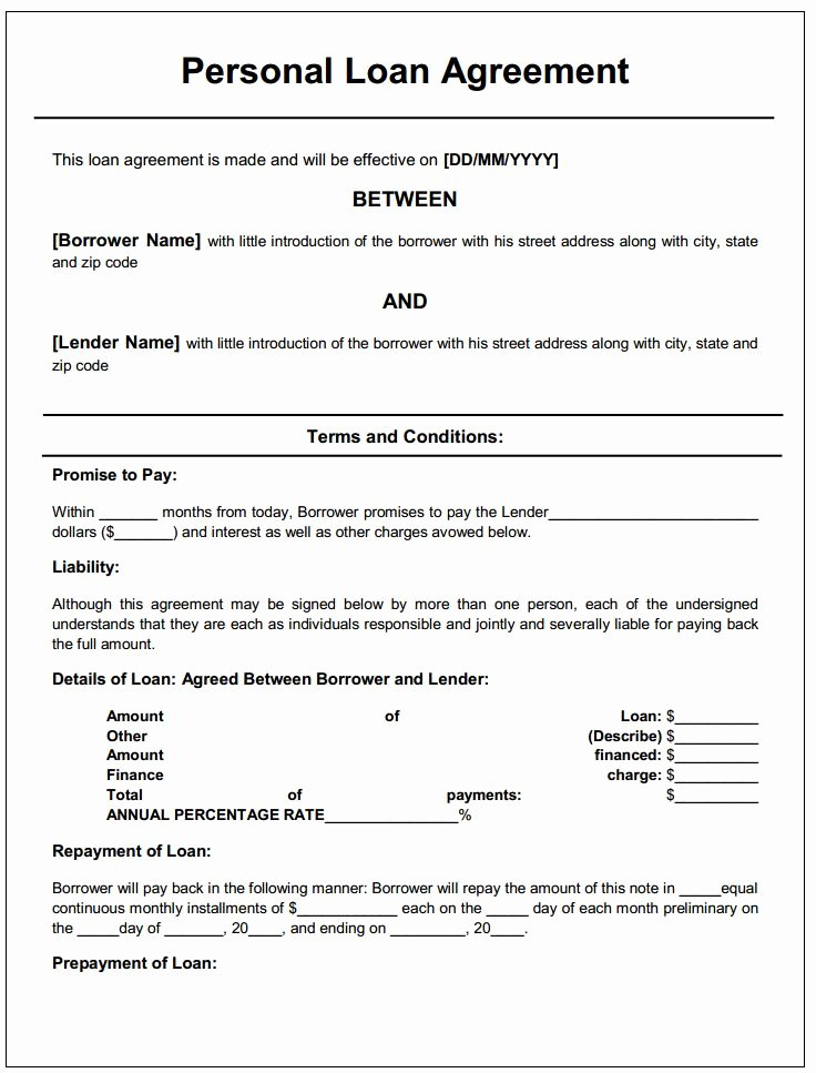 Personal Service Contract Template Awesome Personal Loan Agreement