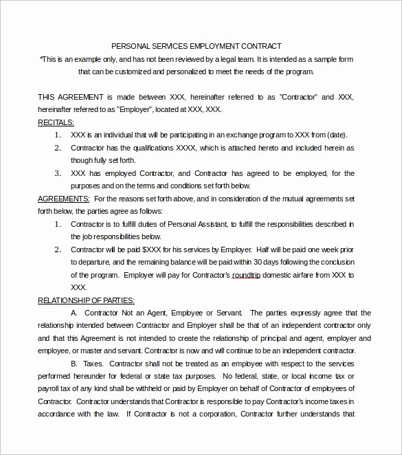 Personal Service Contract Template Elegant Free 19 Sample Service Contract Templates In Google Docs