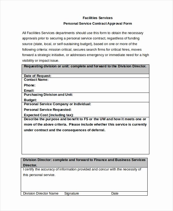 Personal Service Contract Template Elegant Free 8 Sample Service Contract Approval forms In Pdf