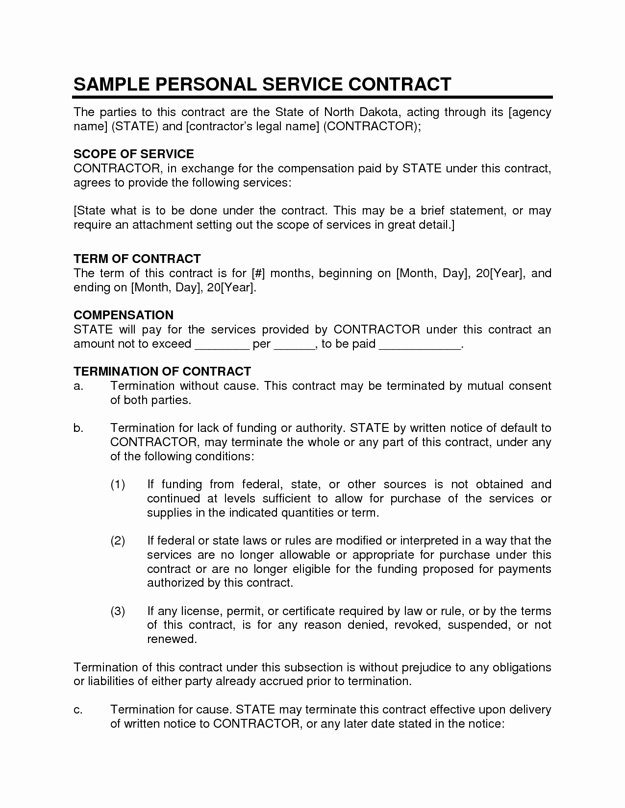 Personal Service Contract Template Elegant Service Contract Sample Personal Service Contract