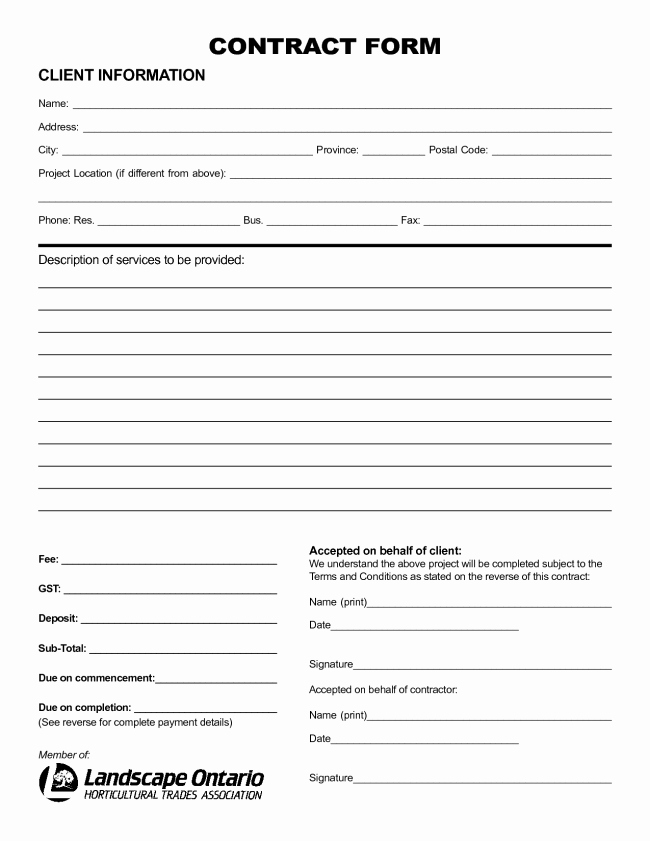 Personal Service Contract Template Fresh Nice Sample Of Printable Blank Contract Template with