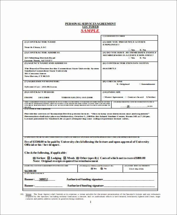 Personal Service Contract Template Lovely 42 Agreement forms In Doc