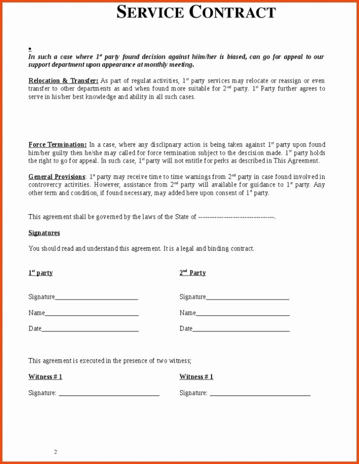 Personal Service Contract Template Lovely Employment Rental & Service Contract Template
